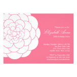 Modern Pink Dahlia Bloom Birthday Party Custom Announcements