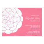 Modern Pink Dahlia Bloom Birthday Party Custom Announcements