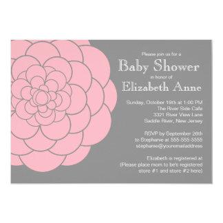 Modern Pink Dahlia Bloom Floral Girl Baby Shower Card