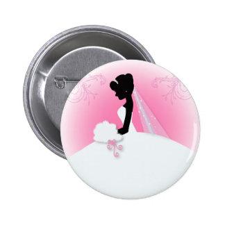 modern pink Elegant bride silhouette bride Button
