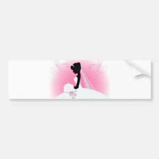 modern pink Elegant bride silhouette bride Bumper Stickers