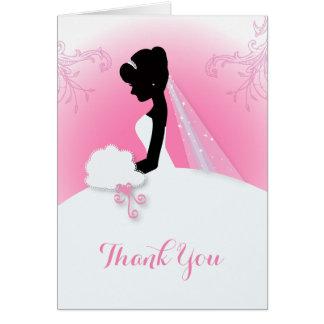 modern pink Elegant bride silhouette bride Greeting Card