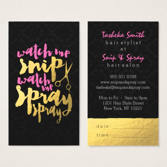 Modern pink faux gold foil hair salon damask chic business card