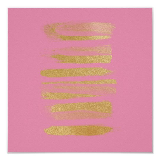 Modern pink faux gold leaf stripes art poster