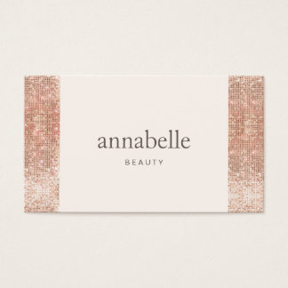 Modern Pink Faux Rose Gold Sequin Beauty Salon Business Card