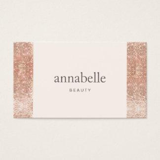 Modern Pink Faux Rose Gold Sequin Beauty Salon Business Card