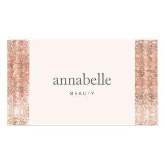 Modern Pink Faux Rose Gold Sequin Beauty Salon Pack Of Standard Business Cards