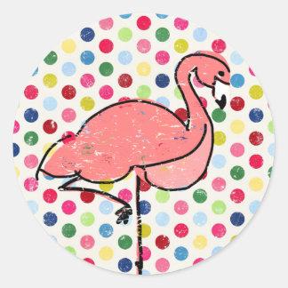 Modern Pink Flamingo Colorful Polka Dots Round Sticker