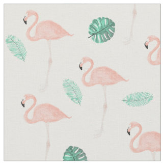 Modern pink flamingo tropical leaf watercolor fabric