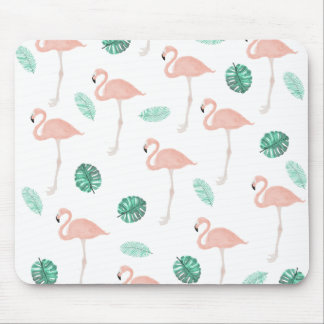 Modern pink flamingo tropical leaf watercolor mouse pad