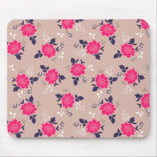 Modern Pink Floral Pattern Mouse Pad