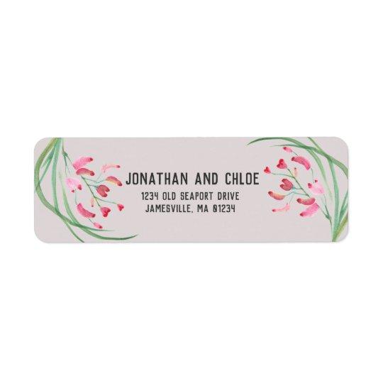 Modern Pink Floral Watercolor Return Address Label
