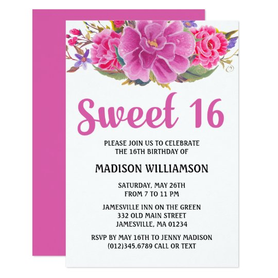 Modern Pink Floral Watercolor Sweet 16 Birthday Card