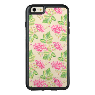 Modern Pink Flowers And Green Leafs OtterBox iPhone 6/6s Plus Case