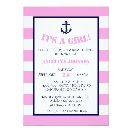 Modern Pink Girl Nautical Baby Shower Invitations