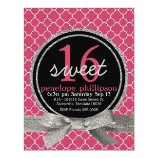 Modern Pink Girly Sweet 16 4.25x5.5 Paper Invitation Card