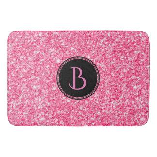 Modern Pink Glitter Texture With Monogram Bath Mat