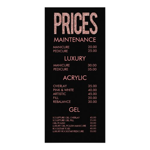 Modern Pink Glitter Typography Salon Menu Cards Rack Card