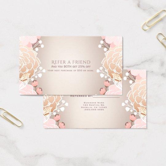 Modern Pink & Gold Floral Botanical Refer a