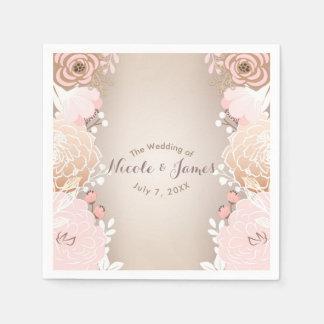Modern Pink & Gold Floral Bridal Shower Any Event Paper Serviettes