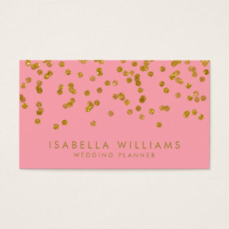 Modern Pink & Gold Foil Confetti Business Card