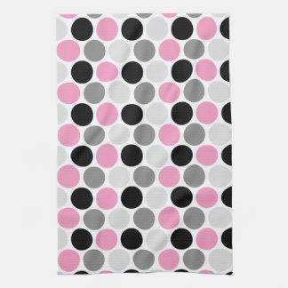 Modern Pink Gray Black Circles Kitchen Towels