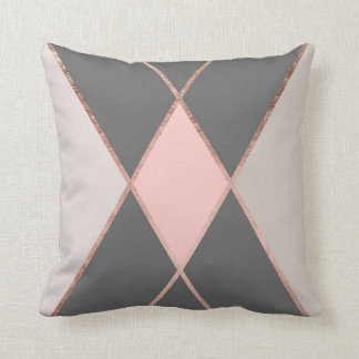 Modern pink gray color block rose gold stripes cushion
