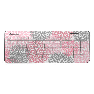 Modern Pink Gray Floral office desk decor | name Wireless Keyboard