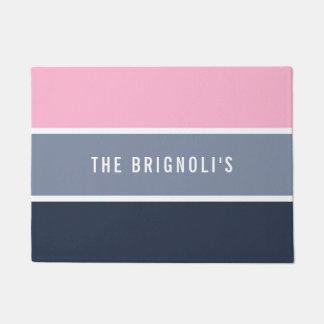 Modern Pink & Gray Stripes Monogram Doormat