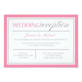 Modern Pink & Gray Wedding Reception Invitation