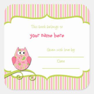 Modern Pink Green Owl Paisley Book Plates Sticker