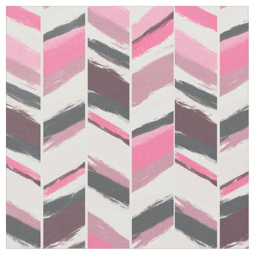 Modern pink grey boho herringbone chevron pattern fabric