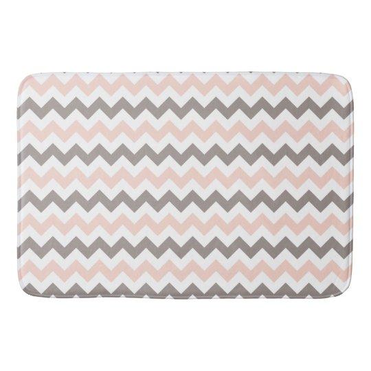 Modern Pink & Grey Chevron Large Bath Mat