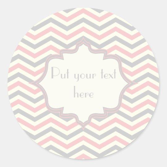 Modern pink, grey, ivory chevron pattern custom classic round sticker