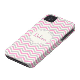 Modern pink, grey, ivory chevron pattern iPhone 4 cover