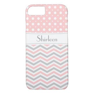 Modern pink, grey, white chevron & polka dot iPhone 7 case