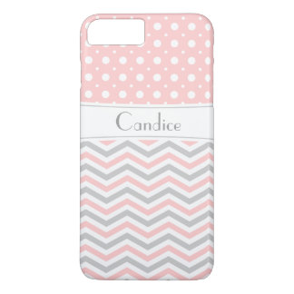 Modern pink, grey, white chevron & polka dot iPhone 7 plus case