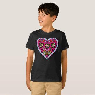 Modern Pink Heart Flames Go Pattern Kids T-Shirt