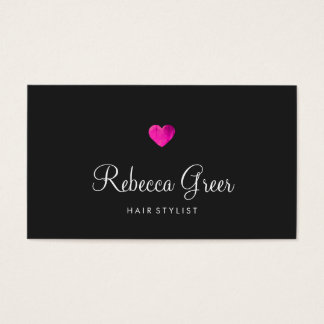 Modern Pink Heart Hair Stylist Black Business Card