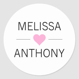 Modern Pink Heart White Wedding Monogram Seals
