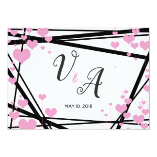Modern Pink Hearts Save the Date Card
