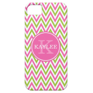 Modern Pink Lime Green Chevron & Monogram iPhone 5 Cover