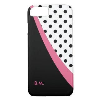 Modern Pink Monogram Polka Dots iPhone 8/7 Case