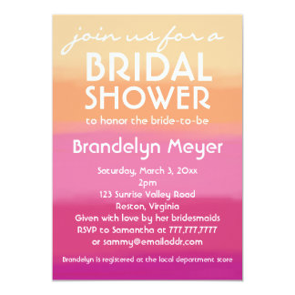 Modern Pink Orange Bridal Shower Invitations