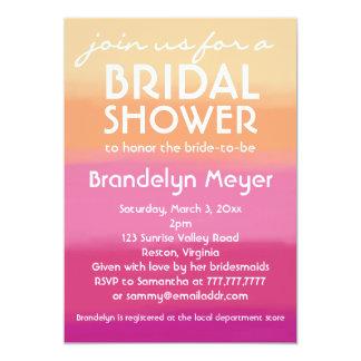 Modern Pink Orange Bridal Shower Invitations