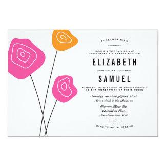 Modern Pink Orange Flowers White Wedding Invite