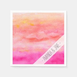 Modern pink orange sunset watercolor wash paper napkin