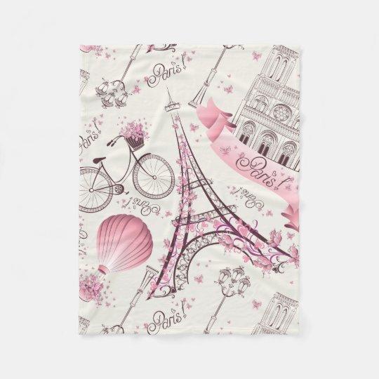 Modern Pink Paris Eiffel Tower Fleece Blanket