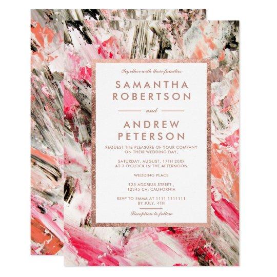 Modern pink peach brushstrokes rose gold wedding card
