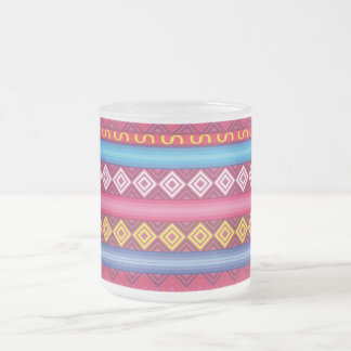 Modern pink peruvian Pattern Frosted Glass Coffee Mug